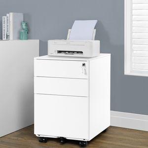Azkoeesy Stahl Rollcontainer abschließbarer Büroschrank mit 3 Schubladen , 52 x 39x 60 cm , Bürocontainer Rollschrank ,weiß