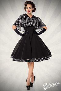Vintage Rockabilly Petticoat Swing Kleid mit Cape in schwarz/weiß Größe XXL (2XL) = 44