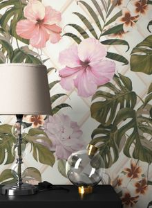 Blumentapete  Grau Vinyl  Floral Modern Natur Blumen Blätter  Myrwyn