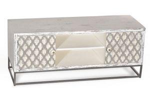 SIT Möbel Lowboard mit Ornamenten   2 Türen, 2 offene Fächer   Mango antikweiß-beige   Metallgestell schwarz   B 130 x T 40 x H 55 cm   13515-10   Serie MAHAL