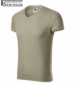 T-Shirt hellkhaki L Herrenshirt V-Ausschnitt Furtwängler Slim Fit V-Neck 180 g/m²