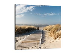 "Leinwandbild - 60x60 cm - ""Hinter der Düne, im Rascheln des Grases""- Wandbilder - Meer Strand Düne - Arttor - AC60x60-2657"
