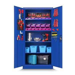 Werkzeugschrank TC01A Werkstattschrank Garagenschrank Lochwand 4 Fachböden Flügeltüren Stahlblech 185 cm x 92 cm x 50 cm (blau)