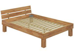 Doppelbett für XXL Gewicht Buche 140x220 hohes Massivholzbett Seniorenbett inkl. Rollrost 60.81-14-220