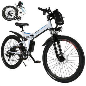 E-Trekkingrad Elektrofahrrad E-bike Faltbares Mountainbike mit LED Fahrradlicht, 26 Zoll E-MTB Elektrisches Fahrrad mit 36V 8AH Lithium Akku 250W und Professional 21-Gang Getriebe 30 Meilen,für Damen, Herren, Unisex,Weiß