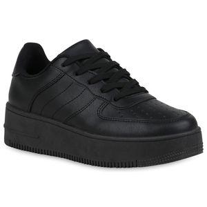 Mytrendshoe Damen Plateau Sneaker Cut Out Vintage Freizeitschuhe Schnürer 833974, Farbe: Schwarz, Größe: 38