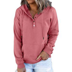 Damen Einfarbig Pullover Lässiger Pullover Knopf Mit Kapuze Pullover Mit Kapuze Langarm,Farbe: rot,Größe:S,Farbe: rot,Größe:S