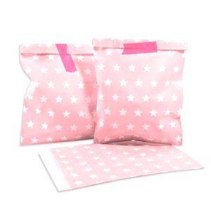 25 PAPIERTÜTEN ROSA, STERNE 13 x 16,5 cm, 45 Gramm Papier, flach / Candy Bar, Hochzeit, Kindergeburtstag, Papiertütchen, Candybag
