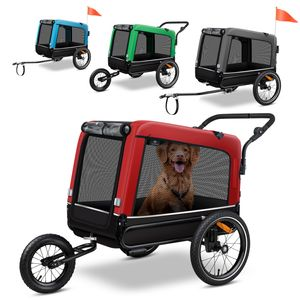 KESSER® Boxer 3-in-1 Hundeanhänger, Hundebuggy & Jogger Fahrradanhänger groß ca. 240 Liter Volumen, gefedert, Material: 600D Oxford Canvas, SmartSpace Concept, maximale Belastbarkeit: 40 kg, Farbe:Blau