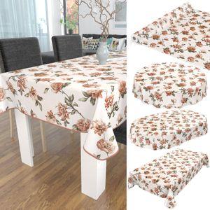 Tischdecke abwaschbar Wachstuch Blumen Wild-Rosen Beige 140x100 cm