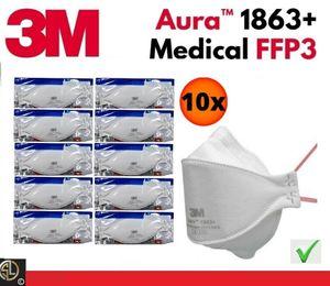 10er Vorteilsset:  3M™ Atemschutz Maske 1863 Aura™, FFP3, FFP 3, ohne Ventil, mit Filter - ***medizinisches Produkt*** + Geschenk*