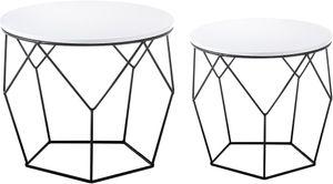Couchtisch Haiti 2er Set in weiß matt lackiert 2x Wohnzimmer Beistelltisch rund mit Metallgestell schwarz