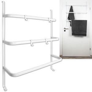 Tür-Handtuchhalter mit 3 Stangen und 4 Haken Wandhandtuchhalter Badregal Türregal
