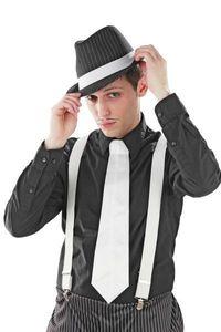 Foxxeo 10128 | 20er Jahre Mafia Krawatte, Farbe:Weiß