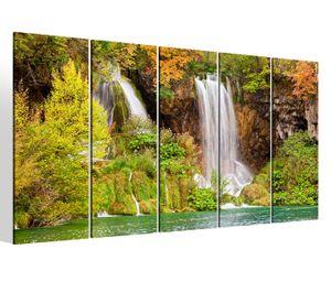 Leinwandbilder 5 teilig XXL 200x100cm Wasserfall Wasser Natur See Landschaft Wald Baum Druck auf Leinwand Bild 9BM280