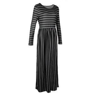 Frauen casual 3/4 Ärmel gestreift Falten lange Maxi-Kleid Taschen schwarz m Farbe Schwarz M