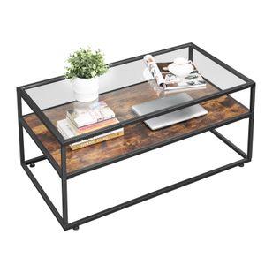 VASAGLE Couchtisch mit Glasoberfläche | Wohnzimmertisch Glastisch Sofatisch stabiles Stahlgestell Hartglas Industrie-Design vintagebraun-schwarz LCT30BX