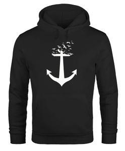 Hoodie Herren Anker Vögel Anchor Birds Sweatshirt mit Kapuze Moonworks® schwarz 4XL