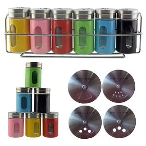 Gewürzregal Set mit 6 Gewürzstreuer Salzstreuer Pfefferstreuer aus Glas Edelstahl
