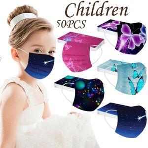 Kinder Kinder Maske Einweg-Gesichtsmaske Industrielle 3Ply Ear Loop 50PC Maske