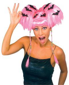 Pinke Halloween Perücke mit Fledermäusen