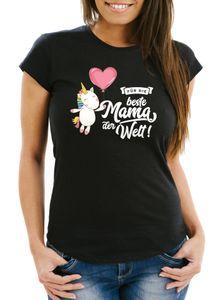 Damen T-Shirt Einhorn Muttertag Beste Mama der Welt Unicorn Mother`s Day Slim Fit Moonworks® schwarz L