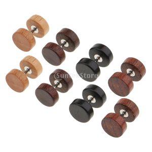 4 Paar  Holz Ohrringe hölzerne Mini Ohrringe kleine runde Holz ohrstecker Damen Männer Ohrstecker Holzschmuck