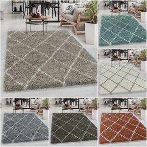 Designer Shaggy Teppich, Hochflor Teppich, Raute Linien, Weicher Oberfläche, Maße:60 cm x 110 cm, Farbe:Beige