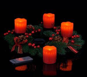 Adventskranz mit 4 roten LED Wachs-Kerzen und Fernbedienung