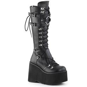 KERA-200 Demonia Damen Gothic Plataustiefel D-Ring Schnürung schwarz Lederoptik