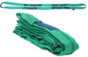 Rundschlinge 2000kg Tragkraft, 2m Umfang, endlos mit Polyesterkern, Hebegurt Hebeband, Grün
