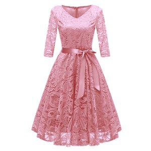Vintage Frauen der 1950er Jahre Crochet Lace Plissee Kleid V-Ausschnitt 3/4 aermel Guertel Abend Party Swing Dress