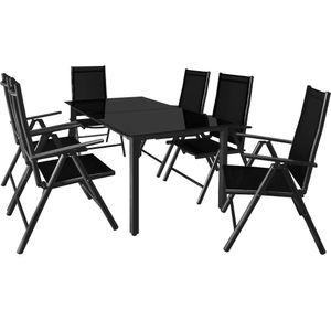 Casaria Alu Sitzgruppe Bern 6 Klappstühle 7-Fach Verstellbar Gartentisch 150x90cm Sitzgarnitur Gartenmöbel Set Garten , Farbe:anthrazit