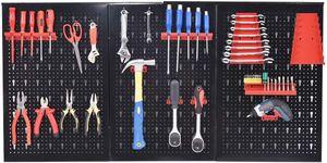 GOPLUS Werkzeugwand Lochwand Werkzeuglochwand Werkstattwand Werkzeughalterset Werkzeughaltersortiment, aus Eisen, schwarz, 1200x600x20mm