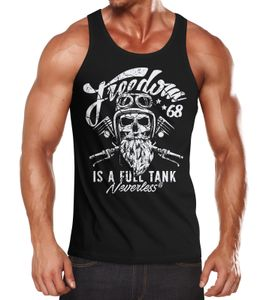 Herren Long-Sleeve Biker Motorrad Motiv Freedom is a full Tank Skull Totenkopf Neverless® schwarz XXL