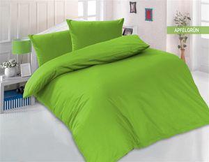 Bettwäsche 200x200 + 2 x 80x80 cm 100% Baumwolle Renforcé Uni 3 teilig Bettgarnitur Bettbezug Set mit Reißverschluss Apfelgrün