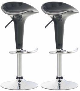 CLP 2er Set Barhocker Saddle mit drehbarem Kunsttoffsitz und Fußablage, Farbe:grau