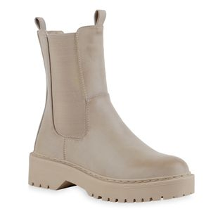Giralin Damen Plateau Boots Blockabsatz Stiefeletten Profil-Sohle Schuhe 836674, Farbe: Nude Beige, Größe: 36