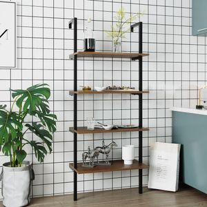 Bücherregal mit 4 Ablagen und Metallrahmen 153 x 60 x 35 cm einfache Montage Holz Vintage Schwarz
