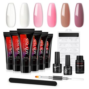 SISLADY Poly Nagelgel Kit - 6pcs  Nude Poly Nagel Gel 15ml Nagelverlängerung Gel für Nail Art Anfänger DIY zu Hause