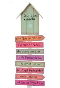 Gartenstab Gartenregeln aus Holz, lackiert