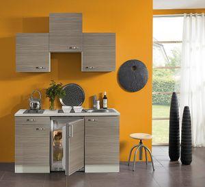 Singleküche mit Elektrogeräten Vigo 150 cm breit in Pinie Nachbildung mit Edelstahlspüle