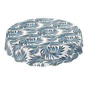 Tischdecke abwaschbar Wachstuch Palmenblätter Gold Blau Rund 140 cm