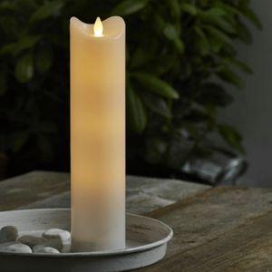 LED Stumpenkerze 'Bianco' - flackernde LED - H: 30cm - Batteriebetrieb - Timer - outdoor - weiß