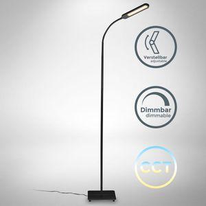 B.K.Licht LED Stehlampe schwarz dimmbar I inkl. 8W 600lm LED Platine I Stehleuchte I CCT 3000K - 6500K warmweiß - kaltweiß   Memory & Touch Funktion