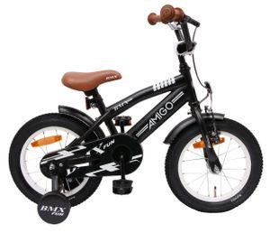Amigo BMX Fun - Kinderfahrrad für Jungen - Jungenfahrrad 14 zoll - Kinderfahrader ab 3-4 Jahre - Schwarz