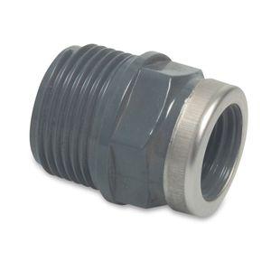 Profec Reduzierstück verstärkt, PVC-U, 3/4 Zoll AG x 1/2 Zoll IG,10 bar, grau