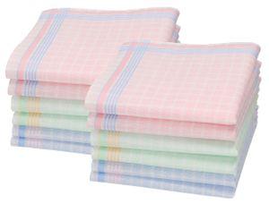 Betz 12 Stück Damen Stoff Taschentücher Set Chanelle 2 Größe 30x30 cm 100% Baumwolle Farbe - Dessin 3