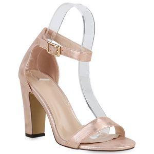 Mytrendshoe Damen Sandaletten High Heels Riemchensandaletten Party Schuhe 821334, Farbe: Rose Gold, Größe: 38