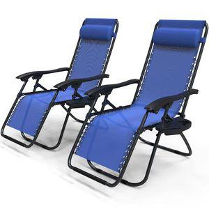 VOUNOT 2er-Set Liegestuhl Klappbar, Relaxstuhl Garten mit Getränkehalter und Kopfpolster, Blau